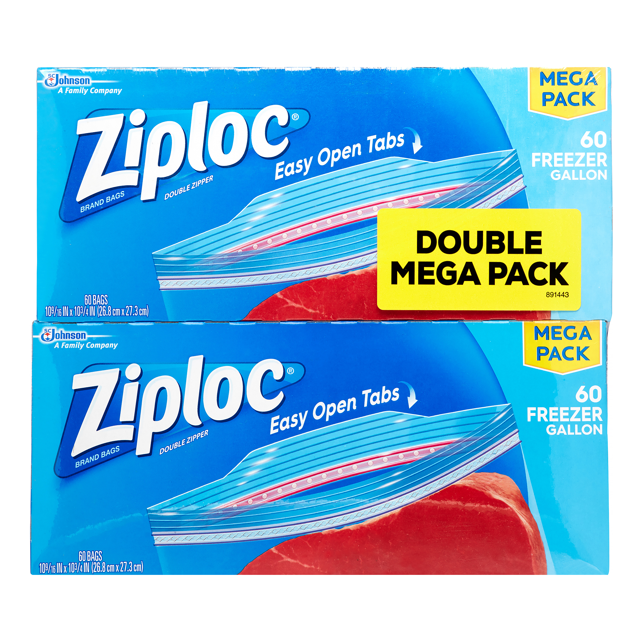 Ziploc Freezer Bags, Gallon, 60 Ct (Pack of 2)