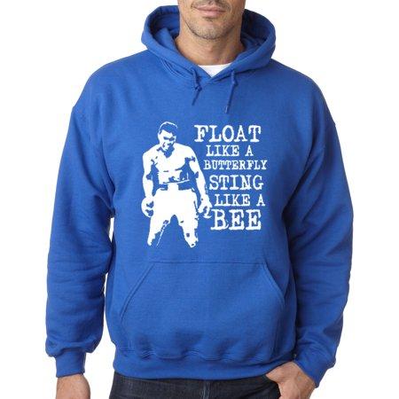 Trendy USA 446 - Adult Hoodie Float Like A Butterfly Sting Like A Bee Muhammad Ali Champion Sweatshirt Medium Royal Blue ()