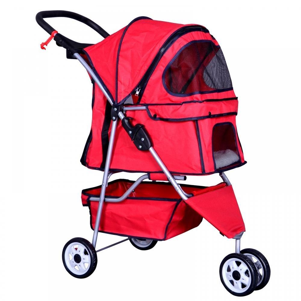 New Red Pet Stroller Cat Dog Cage 3 Wheels Stroller Travel Folding Carrier T1...