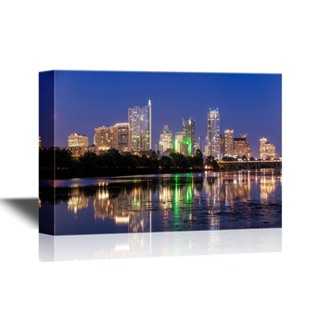 wall26 USA City Skyline Canvas Wall Art - Beautiful Austin Skyline Reflection at Twilight, Texas - Gallery Wrap Modern Home Decor | Ready to Hang - 24x36 inches (Party City Austin Texas)