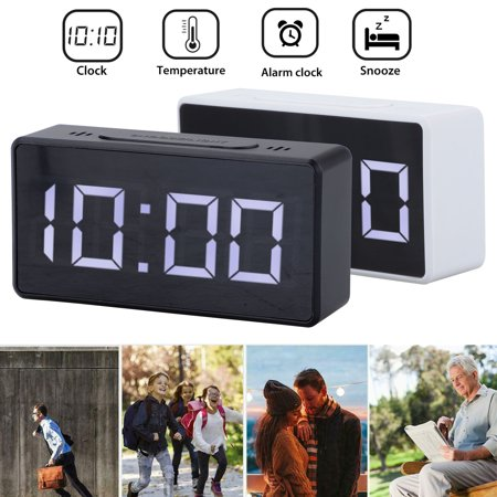 LED Digital Alarm Clock, Simple to Operate, 2 Level Brightness Dimmer, Temperature Display Battery Operated, 12/24Hr, Compact Clock Kids Desk Clock with Snooze Function for Bedroom Living Room Office
