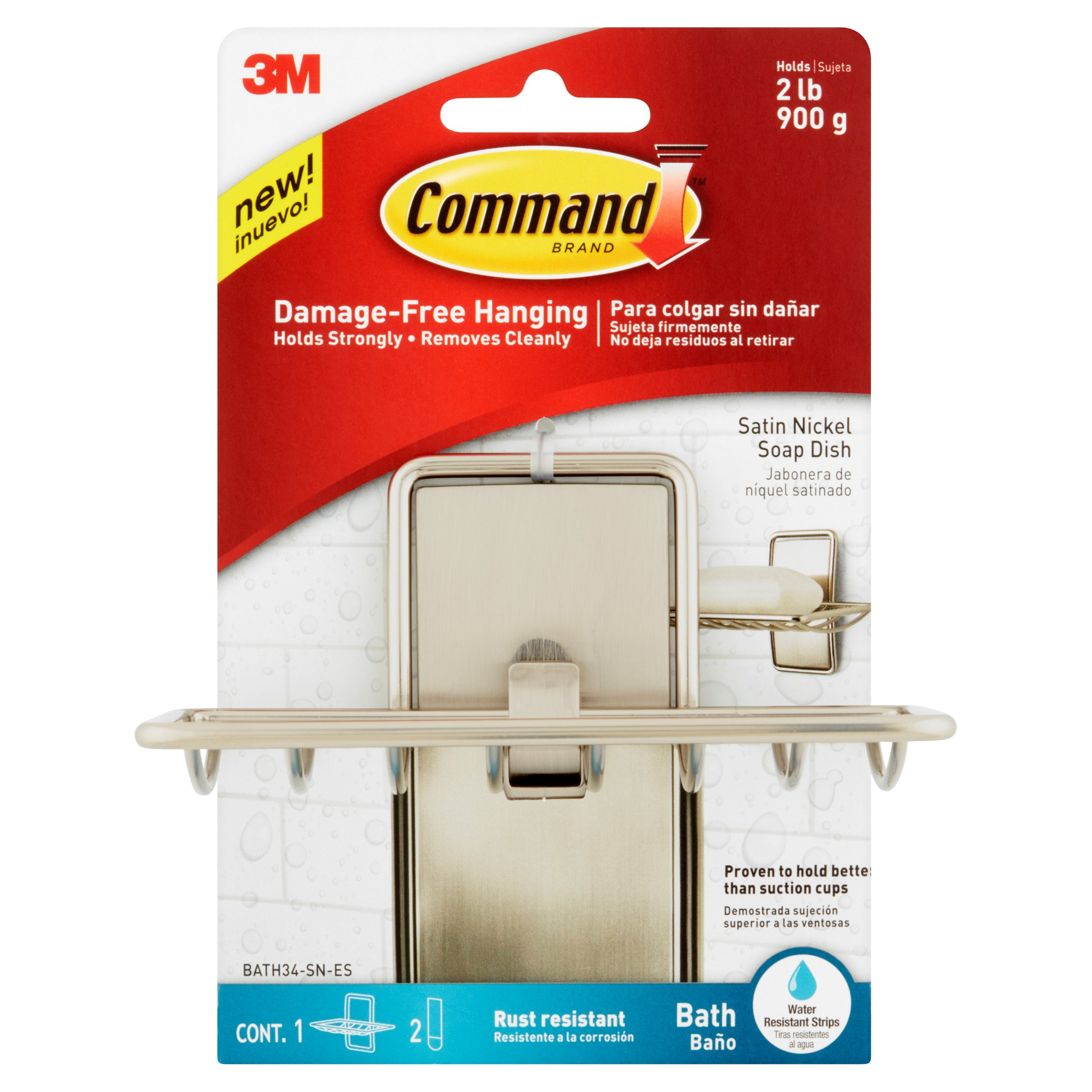 Command Soap Dish, Satin Nickel, 1 Soap Dish, 2 Medium Water-Resistant Strips/Pack