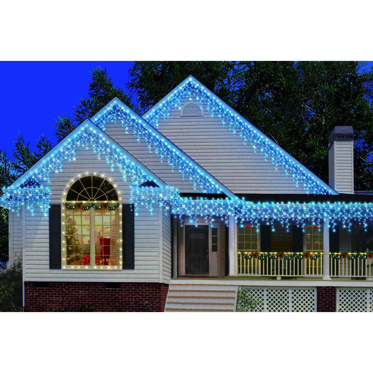 Holiday Time 300-Count Heavy-Duty Icicle Christmas Lights, Blue