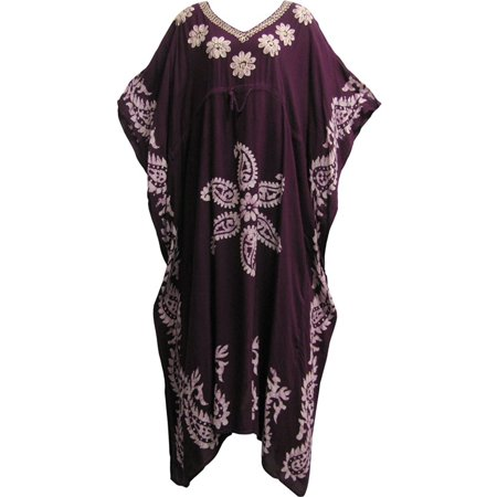 Indian Boutique Embroidered Paisley Bohemian Gypsy Long Caftan Kaftan Dress (No5 Plum)