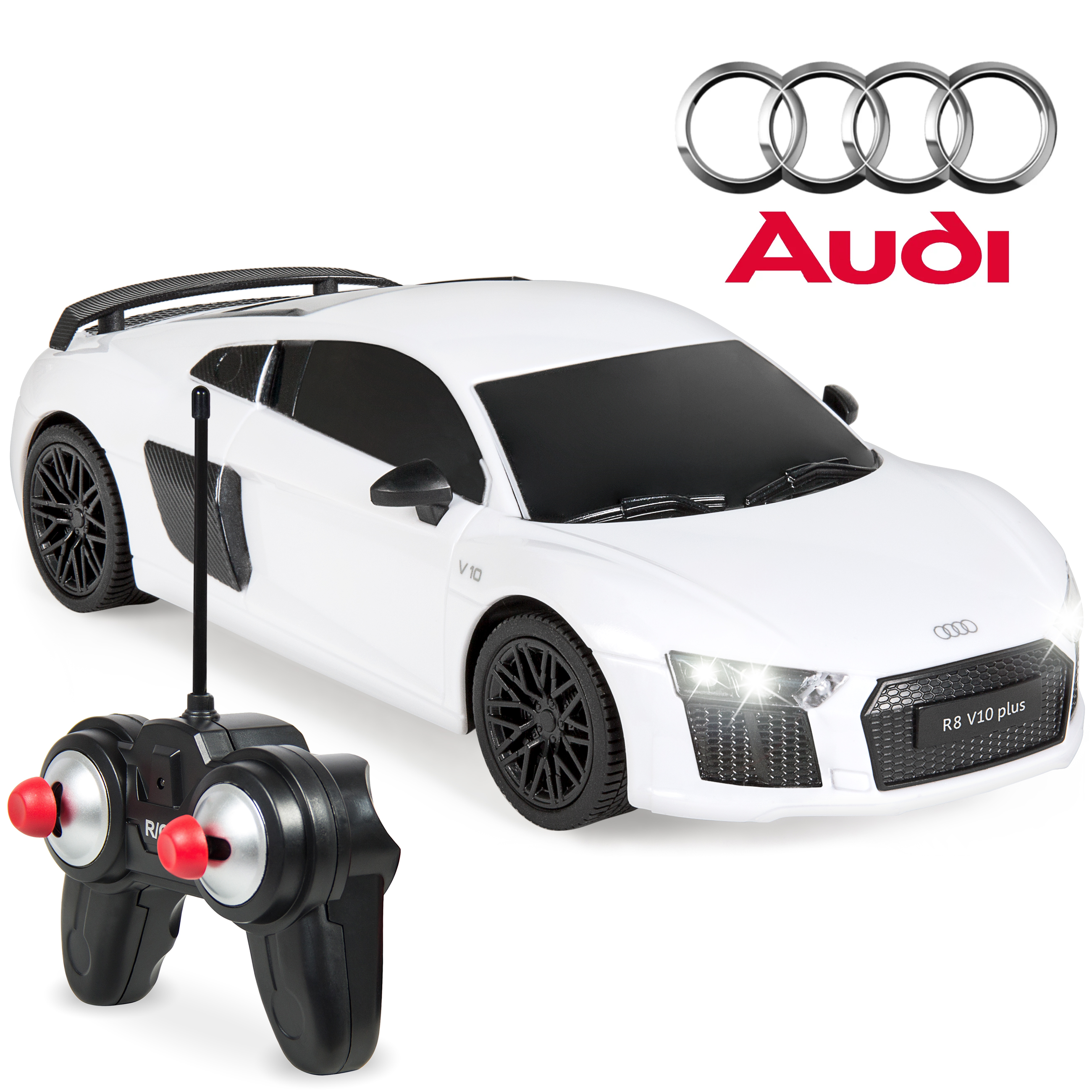 Best Choice Products 1/24 Scale 27MHz Officially Licensed Remote Control Audi R8 Luxury RC Sport Toy Car w/ Lights, Shock Suspension System - White