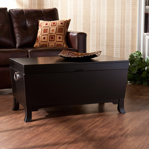 Claxton Trunk Storage Coffee Table, Black