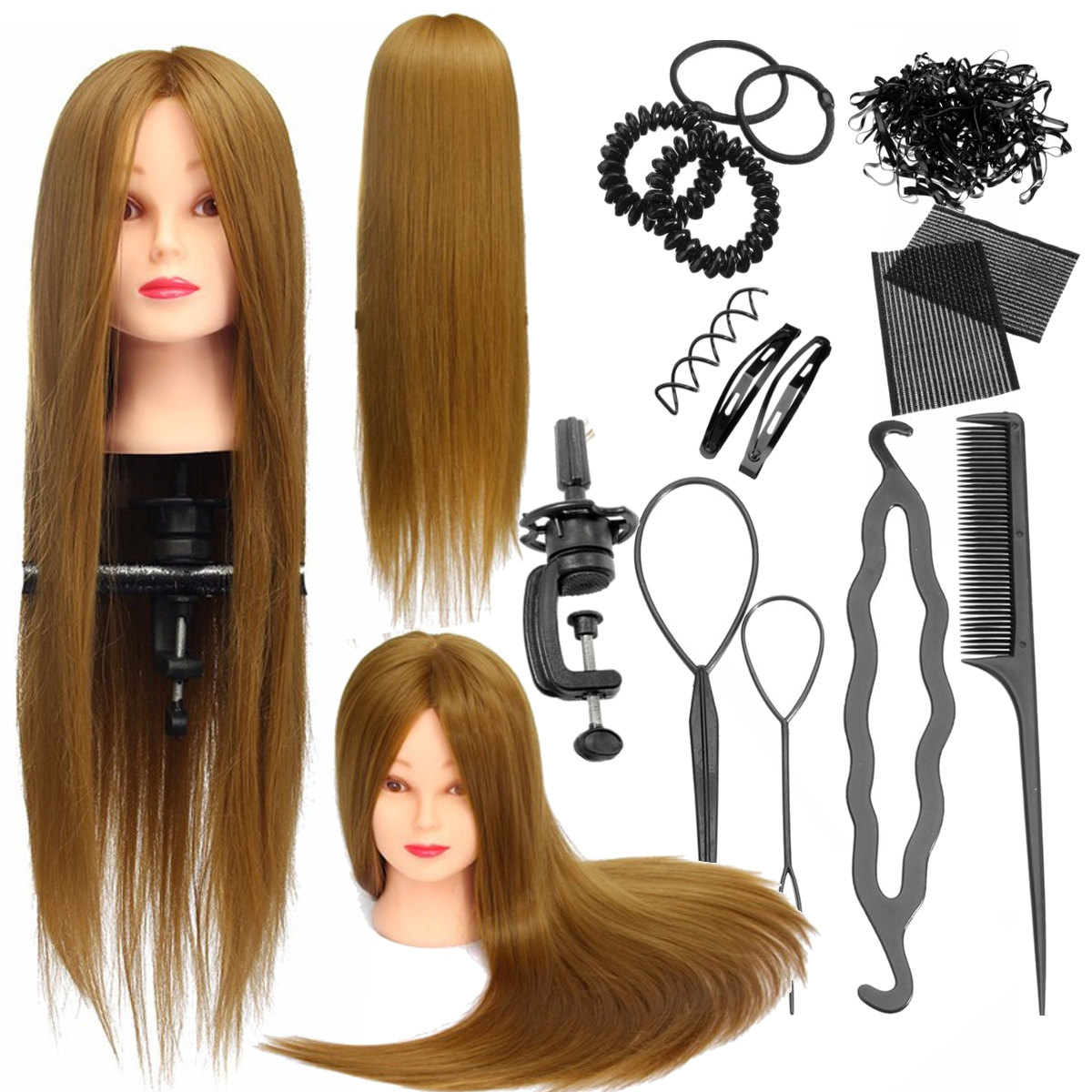 "26"" 30% Human Hair Hairdressing Mannequin Cosmetology Training Head + Clamp+Braid Set"