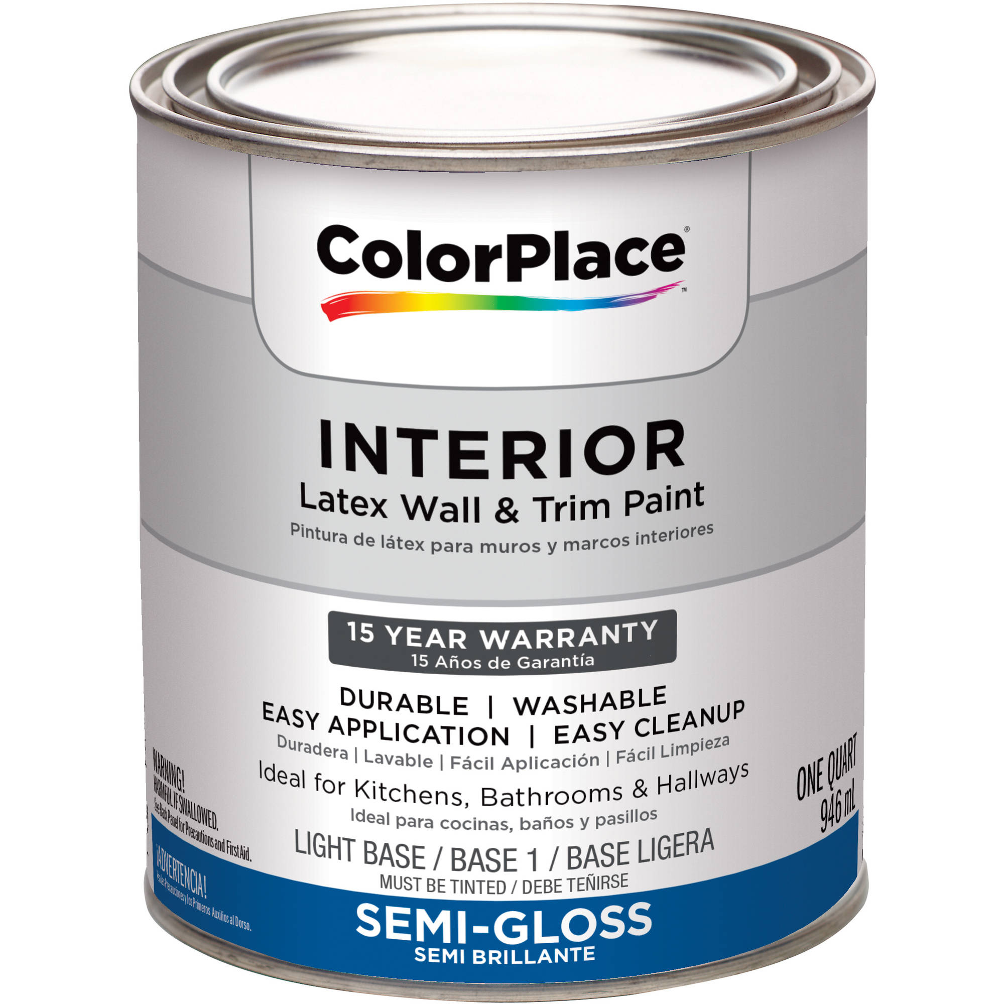 Colorplace Interior Semi-Gloss Light Base Paint, 1 Qt - Walmart.com