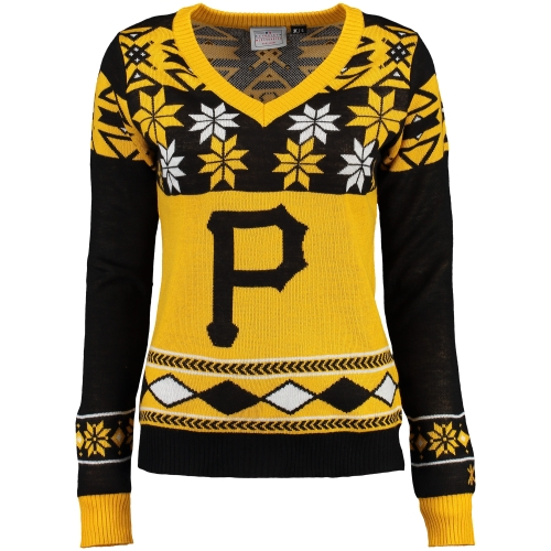 Women's Klew Black Pittsburgh Pirates V-Neck Ugly Sweater