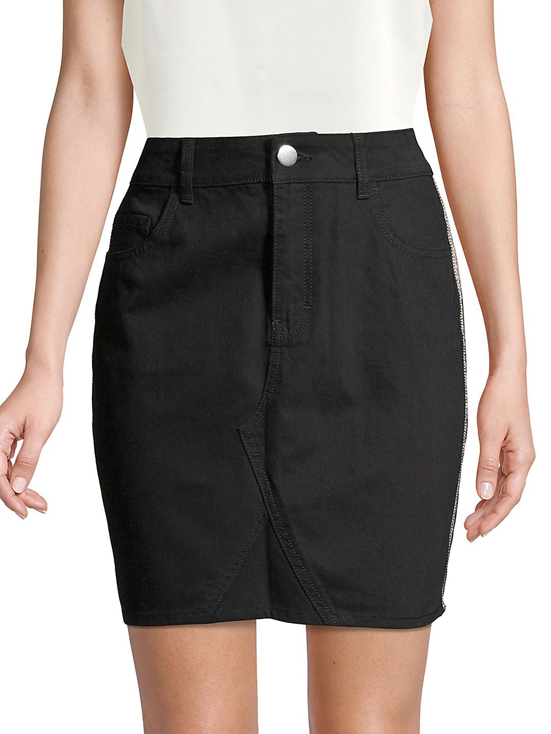 Side Stripe Cotton Mini Skirt