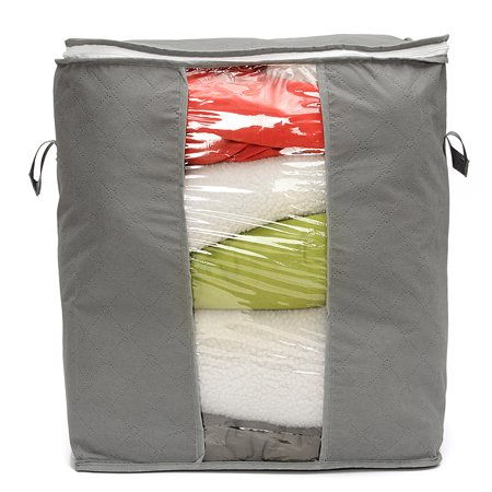 Foldable Bamboo Charcoal Storage Box Clothes Blanket Storage Closet Organizer Bag Case,Anti-mold,Breathable -