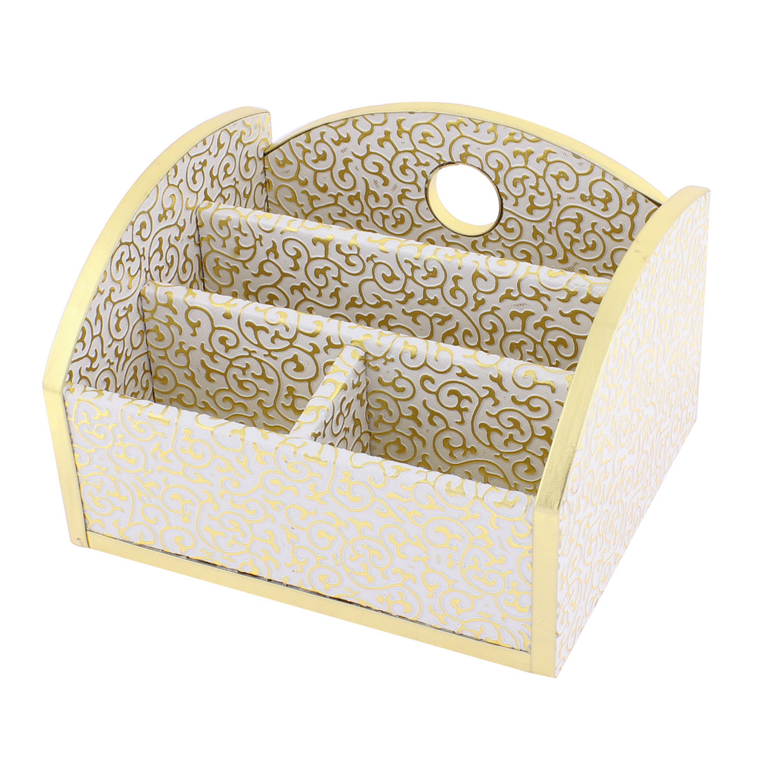 Household Wooden Floral Pattern 4 Rectangle Slots Storage Box White