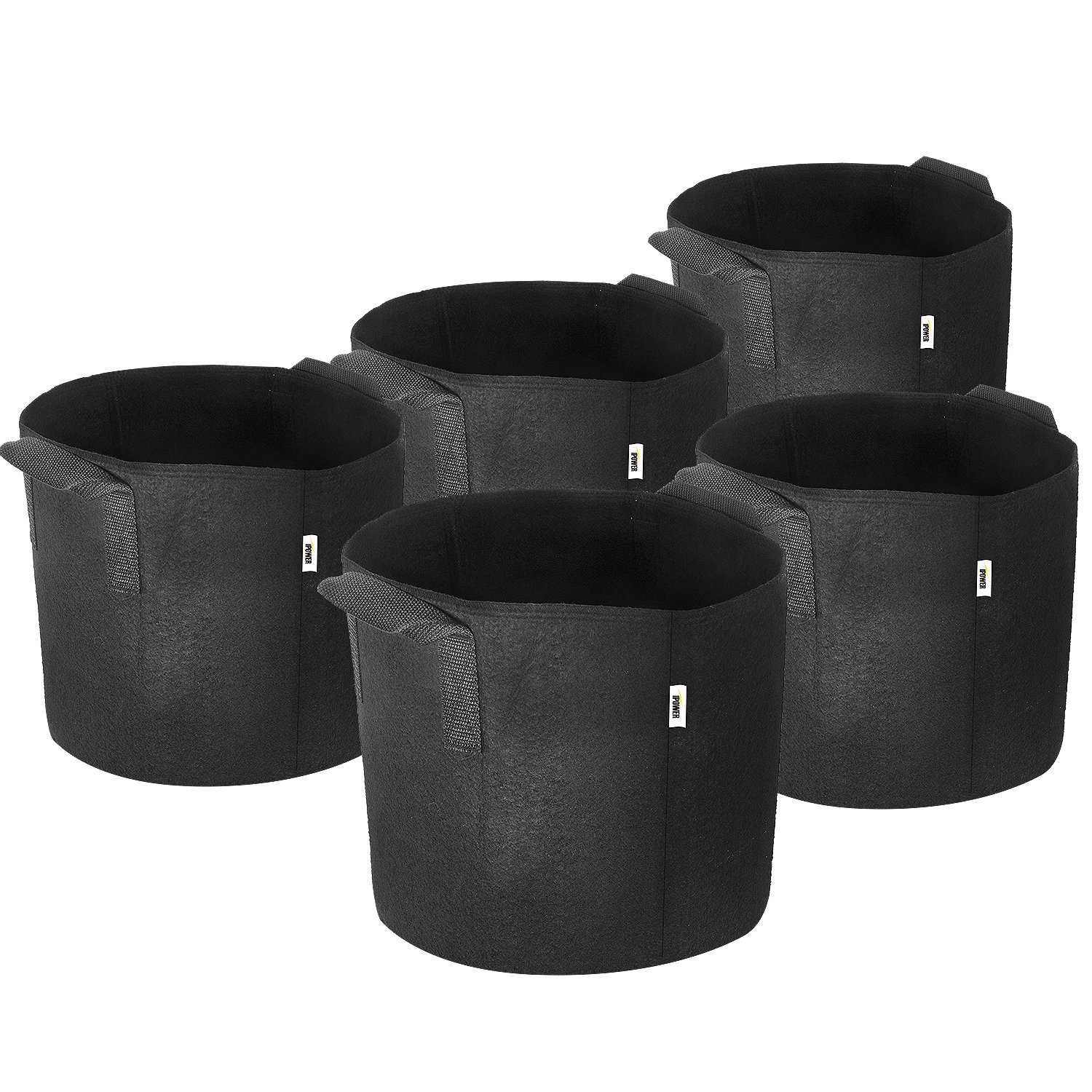 """iPower 3-Gallon 5-Pack Grow Bags Fabric Aeration Pots Container with Strap Handles for Nursery Garden and Planting(Black)"""""""