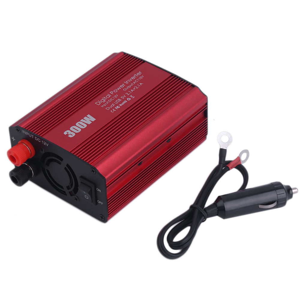 300W Power Inverter Transformer 2 USB Port Car Adapter Converter 12V To 110V red