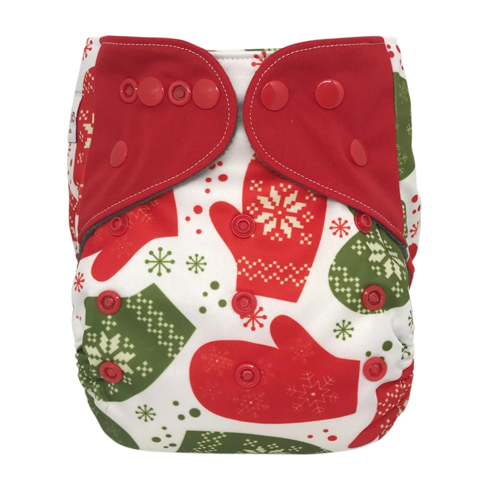 One Size All-in-one Cloth Diaper with Snaps, Mittens