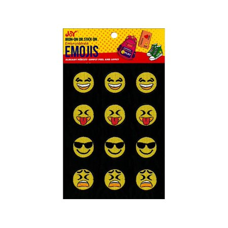 Joy Applique Iron On Stick On Emojis  2 3Ea 4