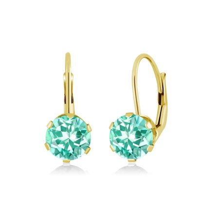 Apatite Wire - 1.64 Ct Round Blue Apatite 14K Yellow Gold Earrings