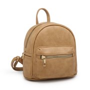 POPPY Small Backpack Purse for Women Faux Leather Shoulder Bag Girls School Daypack Casual Travel Rucksack-Khaki