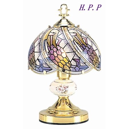 NEW Glass Dark glass floral Scene Touch Lamp 14.3'' H Gold Finish