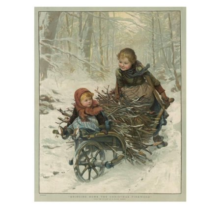 Two Children Bring Home a Barrow-Load of Firewood for the Christmas Fire Print Wall - Halloween's Over Bring On Christmas