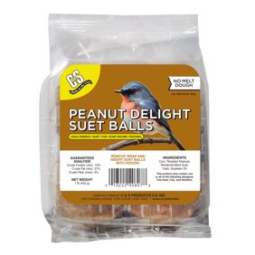 C&S Peanut Delight No-melt Suet Balls., 1 lb, Wild Bird Food