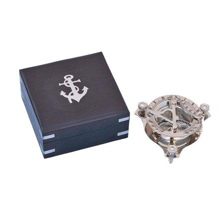 - Captain's Chrome Triangle Sundial Compass w/ Black Rose Wood Box 3