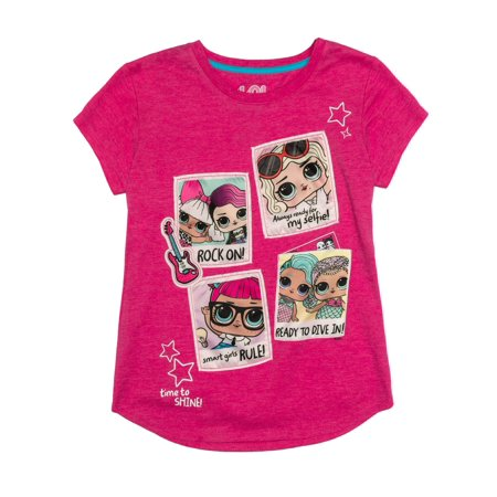 Polaroids LOL Embroidered Patches Graphic Pocket T-Shirt (Little Girls & Big Girls)