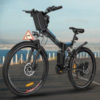 "Clearance!! ANCHEER 26""21 Speed 36V Electric Mountain Bicycle for Adults with Removable Lithium-ion Battery Integrated Mens Electric Bike, With LED Handlebar Display, LED Headlight"