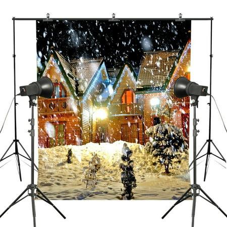 GreenDecor Polyester Fabric 7x5ft Christmas Fireworks Photography Backdrops Snowy Night Christmas EVE Winter Season Digital Printed Studio