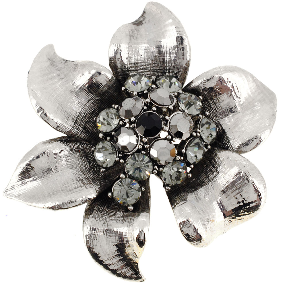 Platinum Silver Flower Pin Brooch by