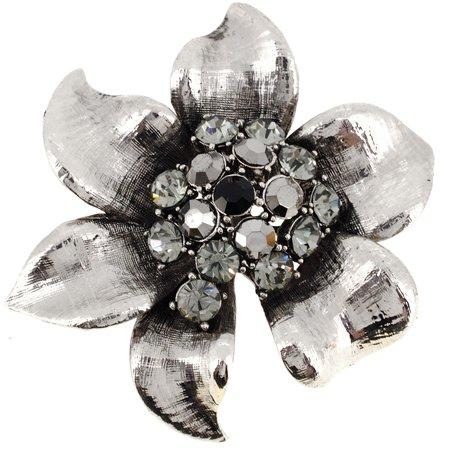 Platinum Silver Flower Pin Brooch (Platinum Diamond Brooch)