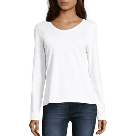 Hanes Women's Long Sleeve V-neck Tee