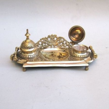 India Overseas Trading Br3423 Double Inkwell Brass Desk Set