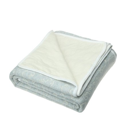 Cotton Quilted Throw Blanket Comforter Soft Bear Pattern Light Grey 180 X 210cm