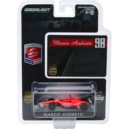 """Honda Dallara Indy Car #98 Marco Andretti """"50th Anniv. Indianapolis 500"""" """"US Concrete Tribute"""" 1/64 Diecast Greenlight"""