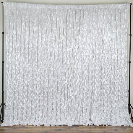 BalsaCircle White 20 feet x 10 feet Romantic Waves Wedding Backdrop Curtain - Wedding Party Photobooth Ceremony Photo - Graduation Ceremony Decoration Ideas