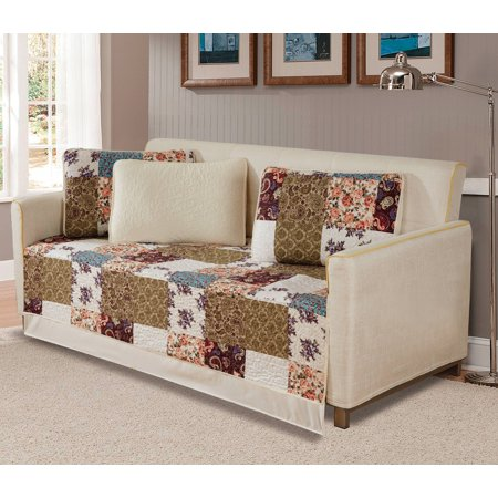 Floral Daybed - Fancy Linen 5pc DayBed Bedspread Quilted Print Modern Floral Beige Burgundy Purple Blue Taupe New # Milano 62