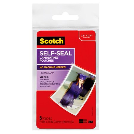 Scotch Self-sealing Laminating Pouches 5 Pack, Wallet Size (Crystal Clear Laminating Pouches)