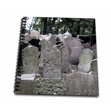 3dRose Gray headstones in cemetery in Prague - grey graveyard grave stones - creepy spooky gothic halloween - Mini Notepad, 4 by 4-inch - Halloween Headstones Epitaphs