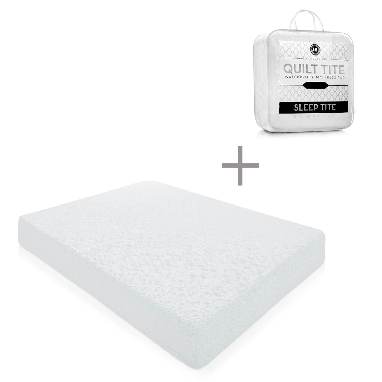 "Lucid 10"" Memory Foam Mattress with Bonus Quilted Waterpr..."