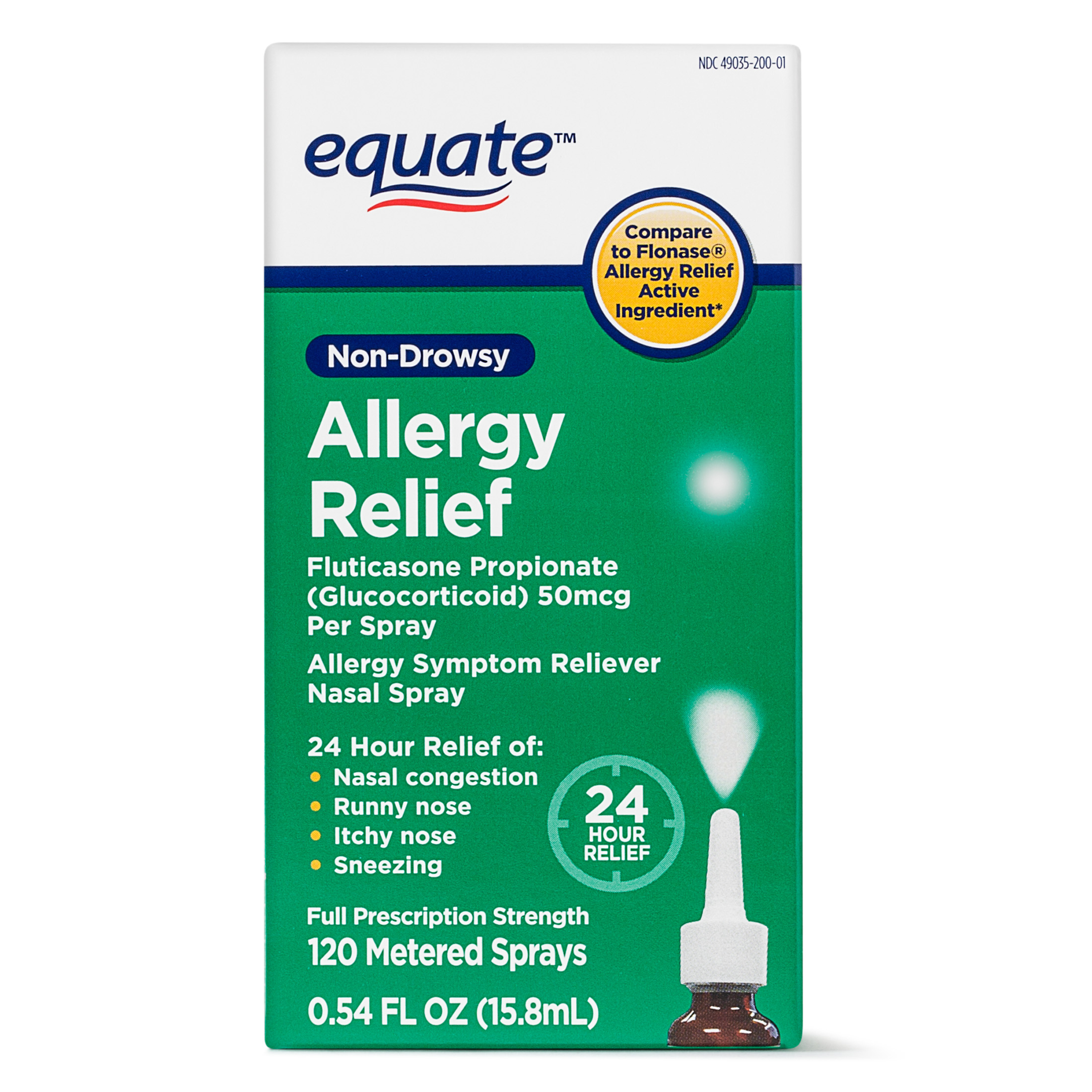 Equate Non-Drowsy Allergy Relief Nasal Spray, 50 mcg, 0.54 Oz