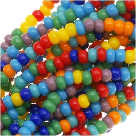 Jablonex Czech Seed Beads Mix, Size 11/0, Rainbow Opaque Multi, 1 Hank Per 4000 - Halloween Seed Bead Earring Patterns