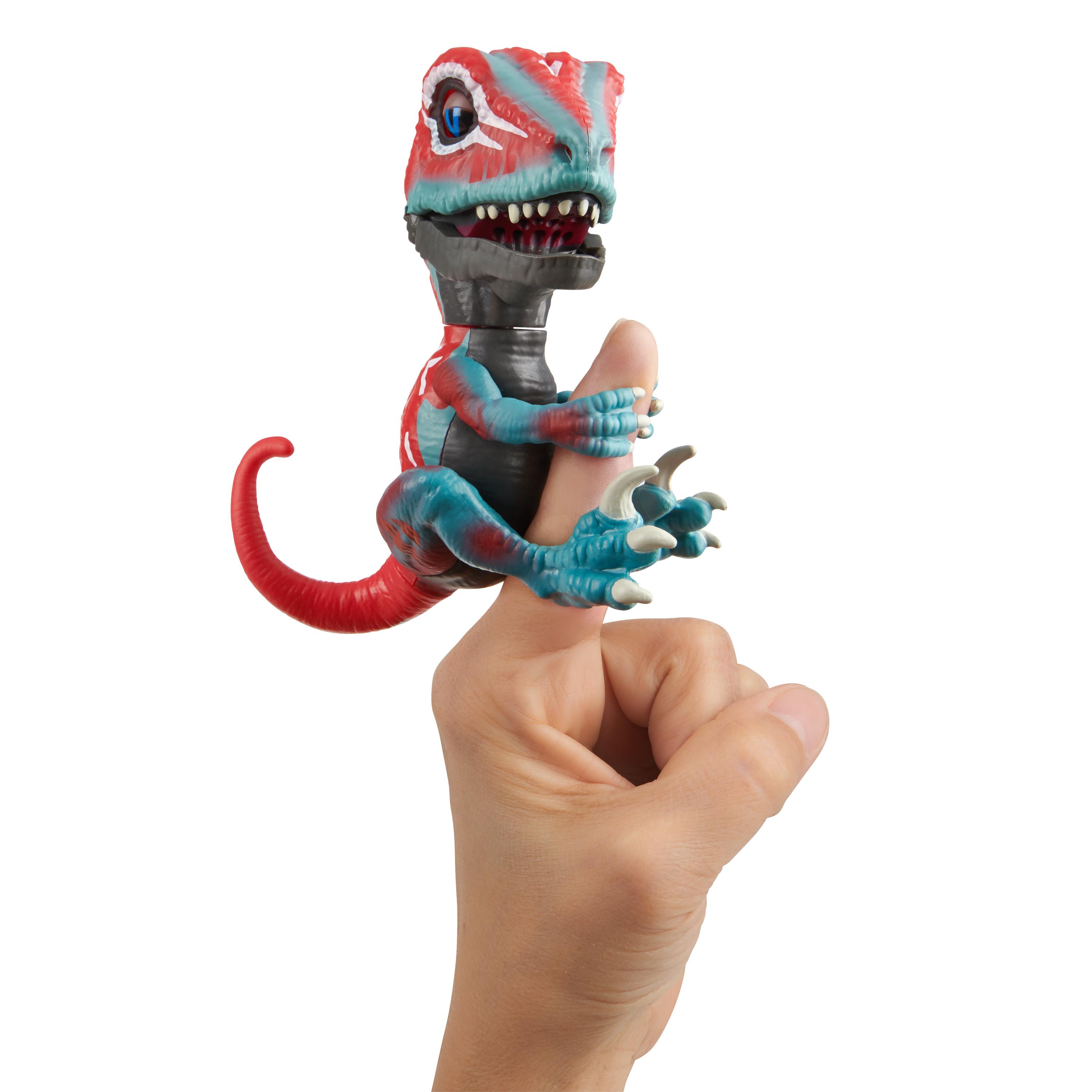 Untamed Raptor - Series 2- by Fingerlings - Mutant (Red and Blue) - Interactive Collectible Dinosaur - By WowWee