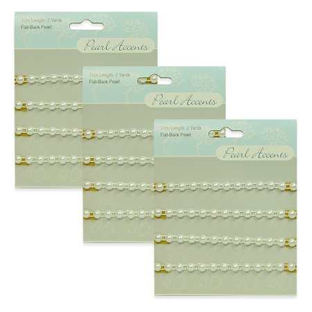 - Expo Int'l 6 Yards of Flat Back Pearl Trim 3 Packs of 2yds