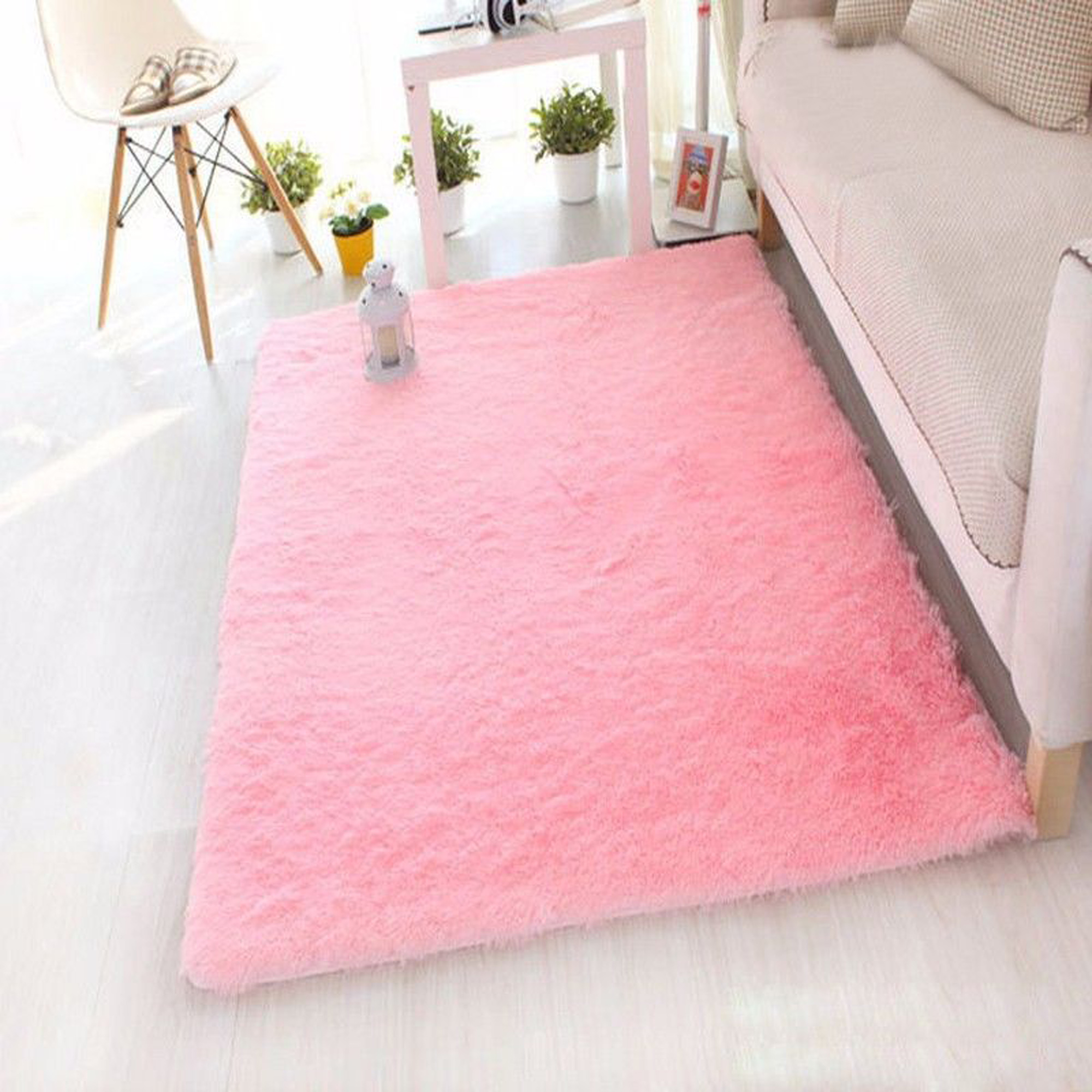 NK HOME Ultra Soft Rugs Rectangular Area Mat Fluffy Carpet Fashion Color Fluffy Carpet Anti-slip Nursery Rug for Bedroom Girls Room Home Decoration Grey Blue Pink