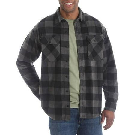 Wrangler Mens Long Sleeve Plaid Wicking Fleece Shirt