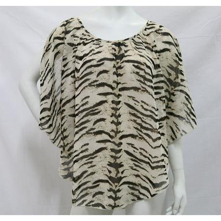 K. Jordan Women's Cold Shoulder Cape Top In Cream/Brown/Zebra -
