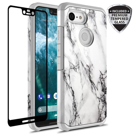 Google Pixel 3 XL Case With Tempered Glass Screen Protector, Kaesar Slim Hybrid Dual Layer Graphic Fashion Colorful Cover Armor Case for Google Pixel 3 XL (White Marble) - Pixel Nerd Glasses