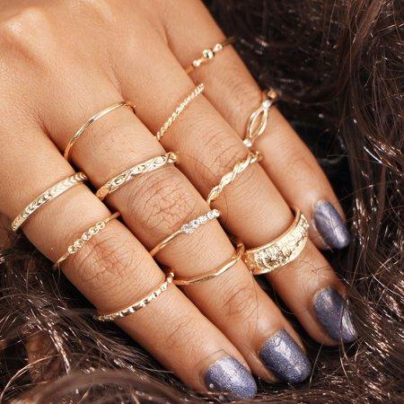 12pcs Knuckle Rings Set, Stylish Retro Carved Alloy Multiple Sizes Finger Rings Set for Women Girls, Gold - image 1 of 6
