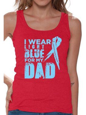 5e354cd009fcbc Product Image Awkward Styles Women s I Wear Light Blue for My Dad Graphic Tank  Tops Prostate Cancer Awareness